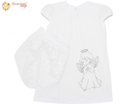Платье с косынкой для крещения (кулир) ПРИНТ